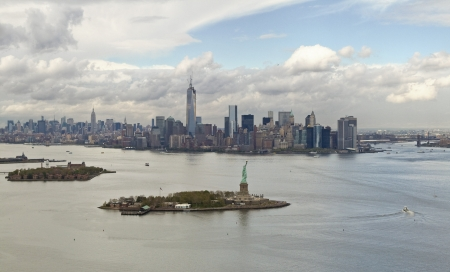 Manhattan bay and Liberty Island from a helicopter, New York, USA