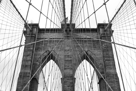 Brooklyn Bridge main structure construction detail, New York City  Reklamní fotografie