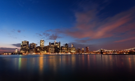 Manhattan view from a Brooklyn Bridge Park, New York, USA photo