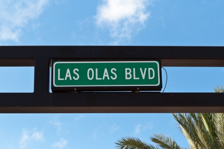 Las Olas boulevard sign, main street in Fort Lauderdale, Florida  photo