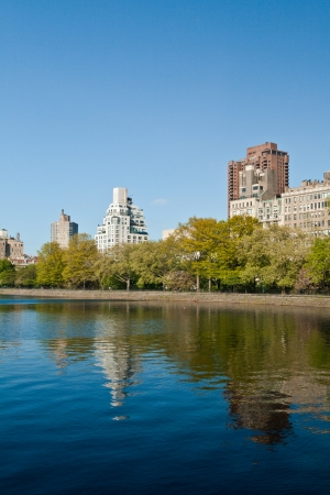 Central Park Lake with sorrounding buildings in New York City, United States of America