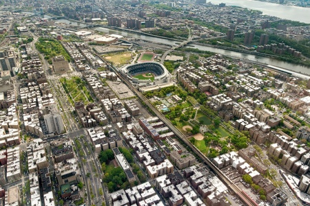 yankee: Helicopter view of Upper West side of Manhattan and Yankee Stadium, New York, USA Stock Photo