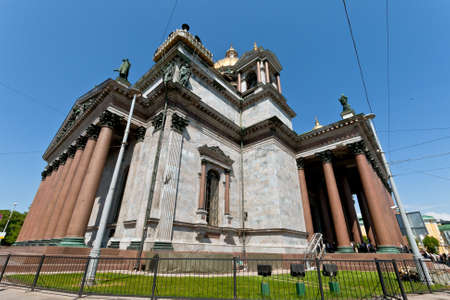 Saint Petersburg, Russia - May 28, 2012  Facade of Saint Isaac Cathedral one of the most important religious places in Saint Petersburg, Russia  The cathedral is being under reparation at this time on 28th May 2012