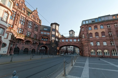 Frankfurt main plaza or Altstadt and its historic buildings, Germany