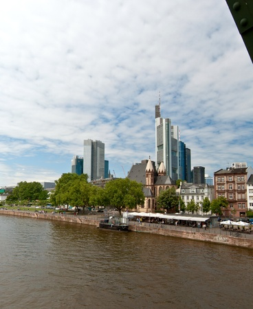 Frankfurt Main River and buildings from an iron bridge, Germany photo