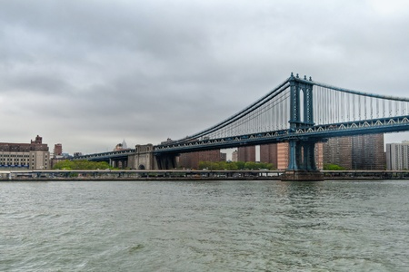 Hudson River with the iconic Manhattan bridge, New York City