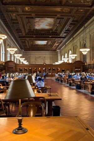 reading room: New York, USA, May 7, 2013  New York Public Library, the third largest public library in North America  Detail of the desks of the Rose main reading room  May 7th, 2013 in Manhattan, New York City  Editorial