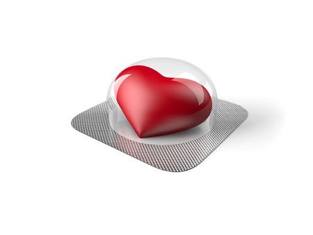 blister: Red heart pill in blister Stock Photo