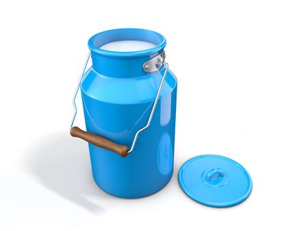 Milk churn isolated on white background Stock Photo
