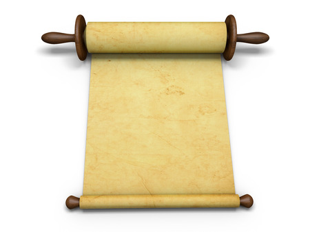 manuscript: Antique scroll of parchment manuscript Stock Photo