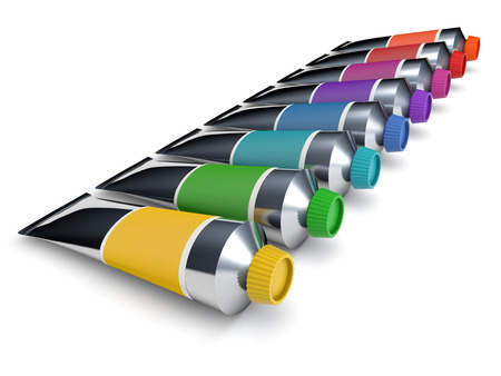 tempera: Colorful tubes of a paint isolated on white