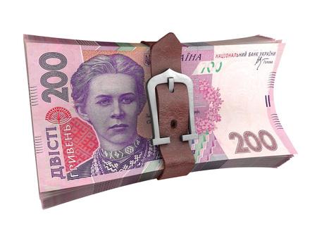 tightening: Belted stack of ukrainian money banknotes. Crisis concept 3d illustration.