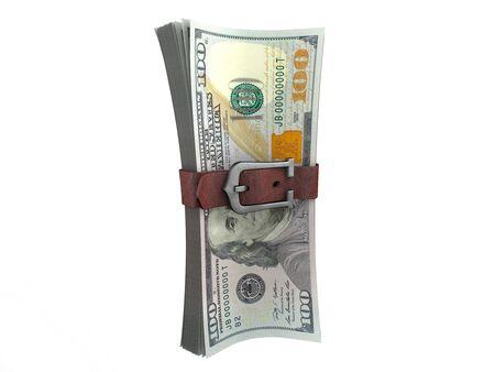 tightening: Belted stack of dollars banknotes. Crisis concept 3d illustration.
