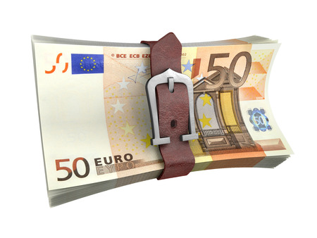 buckled: Belted stack of euro money banknotes. Crisis concept 3d illustration.