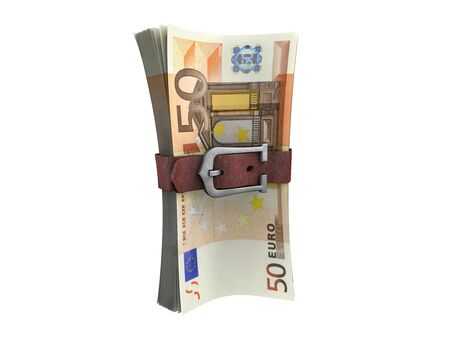 buckled: Belted stack of euro money banknotes.Crisis concept 3d illustration. Stock Photo