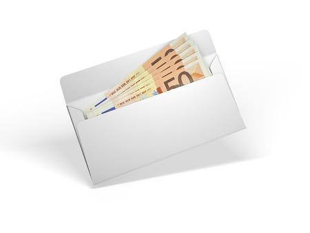 envelope: White envelope with money