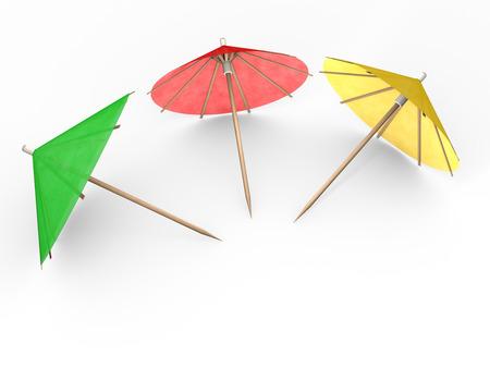 cocktail umbrella: Cocktail Umbrella isolated on white background Stock Photo