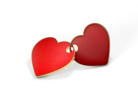 fastened: The fastened together red hearts