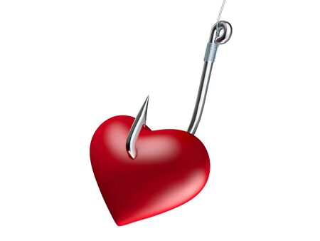 fishhook: Red heart on the fishing hook isolated on white
