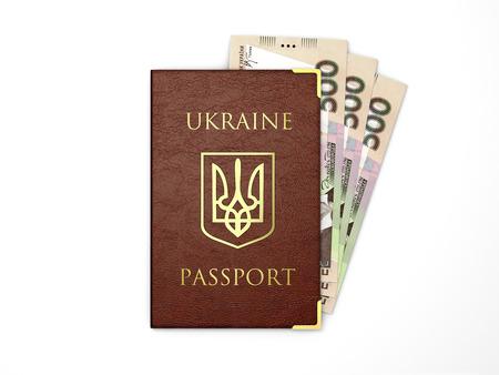 increment: Ukrainian passport with banknotes of ukrainian money Stock Photo