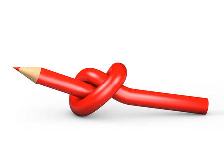 puzzlement: Red pencil tied in a knot on a white background Stock Photo