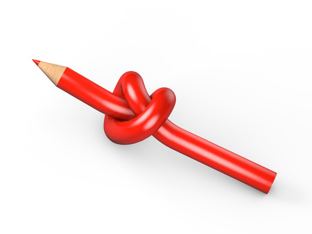 Red pencil tied in a knot on a white background Stock Photo