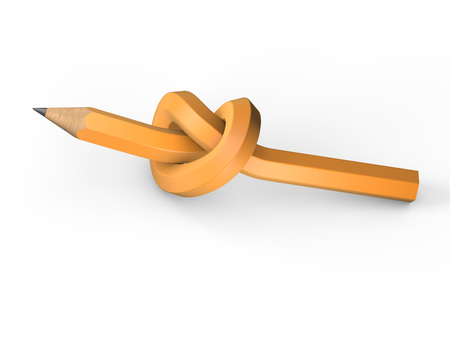 tied in: Pencil tied in a knot on a white background Stock Photo