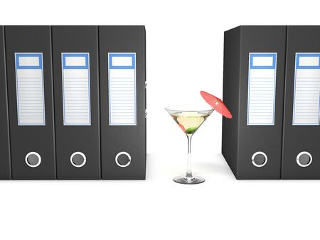 file box: Office folders and martini coctail decorated with red umbrella