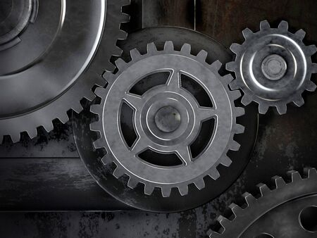 Gears on dark background. Abstract 3d illustration of gears. Stock Photo