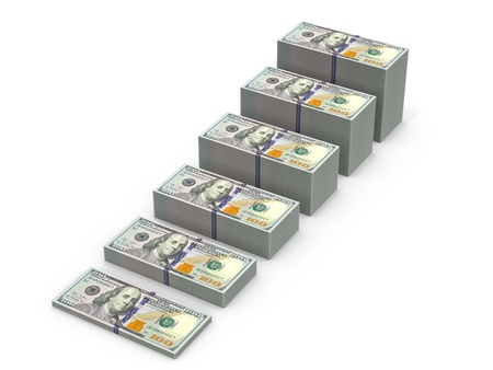 the deposits: Stairs from stacks of money. Expansion of deposits concept. Stock Photo
