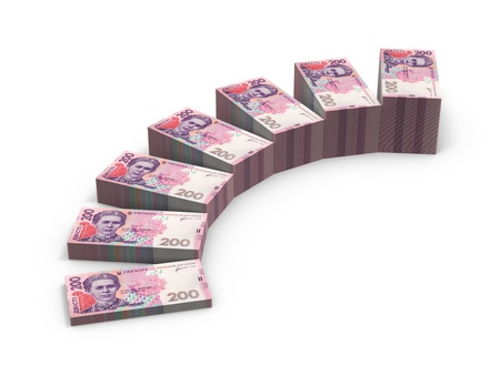 hryvna: Stairs from stacks of money. Expansion of deposits concept. Stock Photo