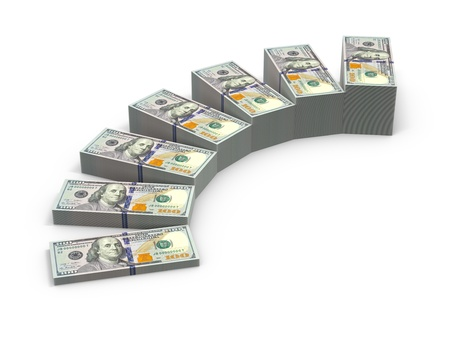 expansion: Stairs from stacks of money. Expansion of deposits concept. Stock Photo