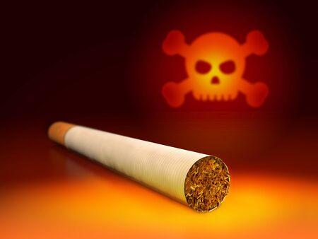 Skull and cigarette. 3d Illustration of antismoking concept.