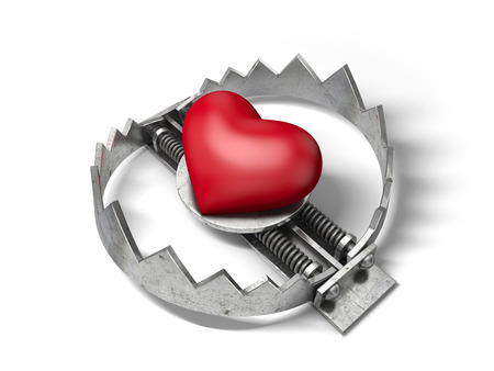 allurement: Red heart in the bear metal trap. 3D concept of love trap. Stock Photo