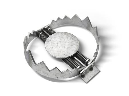 pitfall: Sharp metal bear trap. 3D illustration.