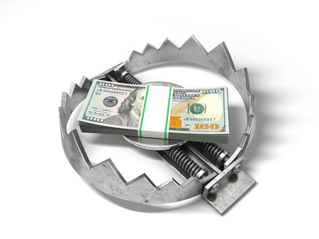 allurement: Stack of money in the bear metal trap. 3D concept.