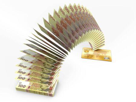 flying money: Flying money. 3D cash back concept. Stock Photo