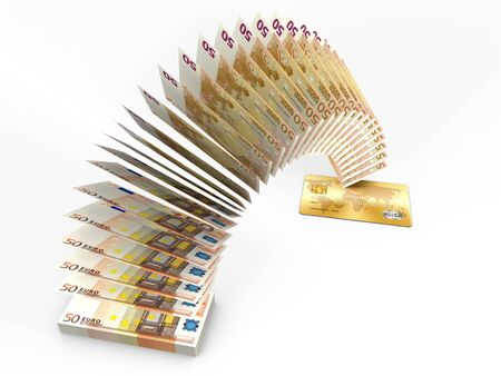cash back: Flying money. 3D cash back concept. Stock Photo