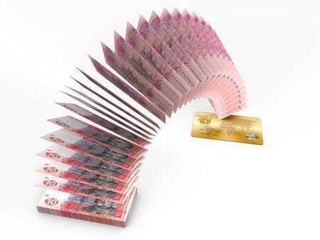 cash money: Flying money. 3D cash back concept. Stock Photo