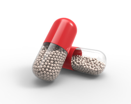 granules: Red capsule with the granules of drugs inside. Concept 3D illustration. Stock Photo
