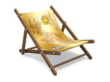 deckchair: Deckchair with the credit card. Concept 3D illustration. Stock Photo