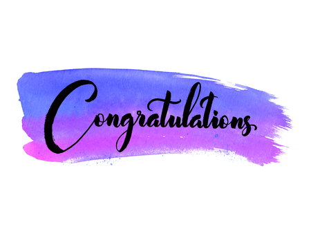 praise hands: Congratulations. Hand lettering. Modern brush calligraphy. Handwritten phrase on watercolor background. Illustration
