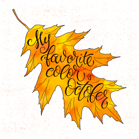 Autumn vector background with autumn leaves falling. Seasonal inspiration quote lettering. Calligraphy graphic design element. Leaves falling Autumn is calling. Autumn watercolor background.