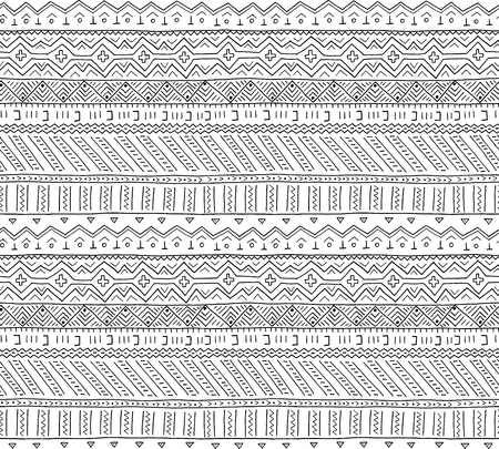 Hand drawn African tribal seamless pattern. African background in the ethnic style of hand-painted. Primitive geometric background. EPS10 vector illustration.