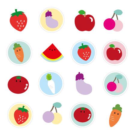 Coloridas frutas y verduras para los niños Foto de archivo - 37059862