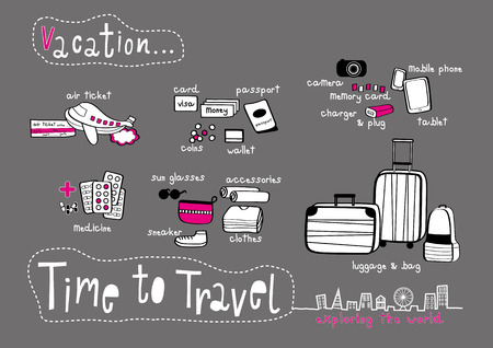Time to Travel Doodle & Exploring the World Dark Grey background, Things to prepare for Vacation Vector