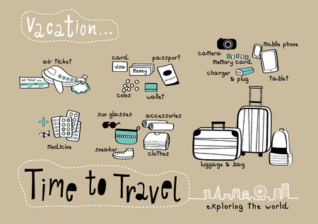 Time to Travel Doodle & Exploring the World Brown background, Things to prepare for Vacation