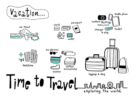 Time to Travel doodle & Exploring the World White background, Things to prepare for Vacation