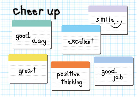cheer up: cheer up wording post it white graph paper sheet background Illustration