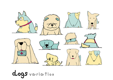 Dogs variation doodle pastel color on white background Vector